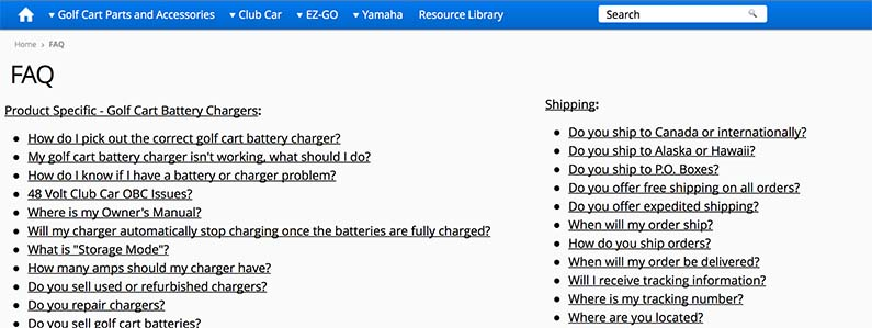 Example FAQ page for e-commerce store