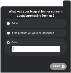 Exit survey questions for an e-commerce store using Qualaroo