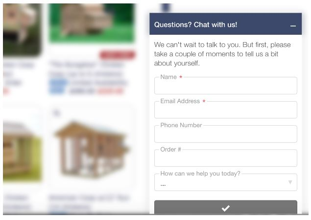 Live chat pre chat forms